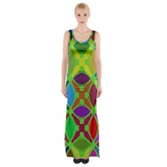 Abstract Pattern Background Design Maxi Thigh Split Dress