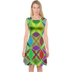 Abstract Pattern Background Design Capsleeve Midi Dress