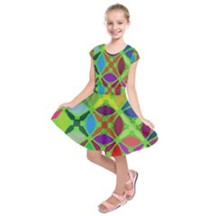 Abstract Pattern Background Design Kids  Short Sleeve Dress