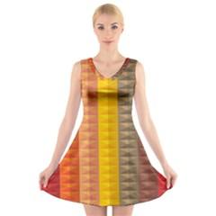 Abstract Pattern Background V-Neck Sleeveless Skater Dress