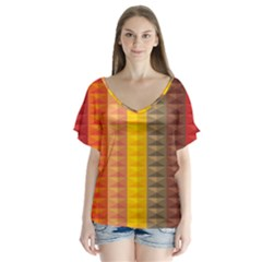 Abstract Pattern Background Flutter Sleeve Top