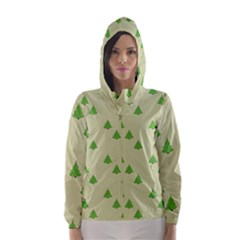 Christmas Wrapping Paper Pattern Hooded Wind Breaker (women)