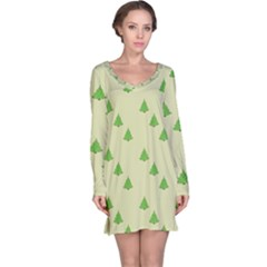 Christmas Wrapping Paper Pattern Long Sleeve Nightdress