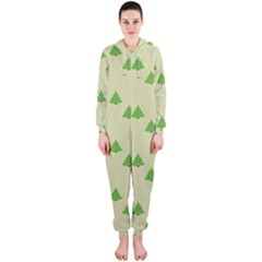 Christmas Wrapping Paper Pattern Hooded Jumpsuit (Ladies)
