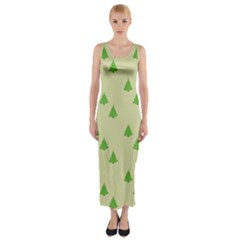 Christmas Wrapping Paper Pattern Fitted Maxi Dress