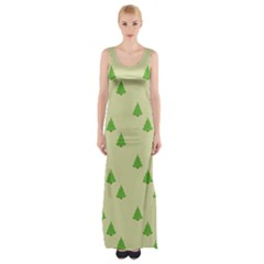 Christmas Wrapping Paper Pattern Maxi Thigh Split Dress