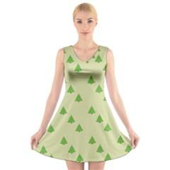 Christmas Wrapping Paper Pattern V Neck Sleeveless Skater Dress