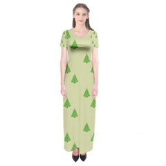 Christmas Wrapping Paper Pattern Short Sleeve Maxi Dress
