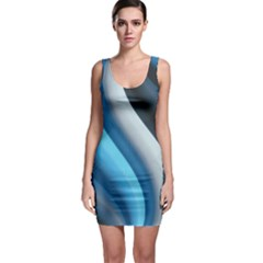 Abstract Pattern Lines Wave Sleeveless Bodycon Dress
