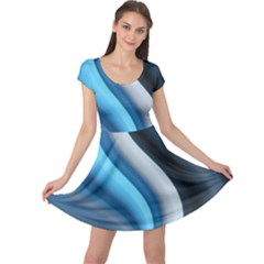 Abstract Pattern Lines Wave Cap Sleeve Dresses