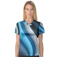 Abstract Pattern Lines Wave Women s V Neck Sport Mesh Tee