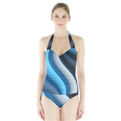 Abstract Pattern Lines Wave Halter Swimsuit