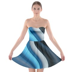 Abstract Pattern Lines Wave Strapless Bra Top Dress
