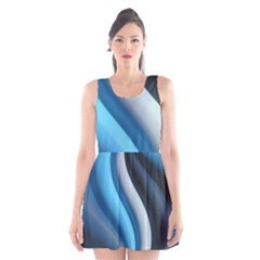 Abstract Pattern Lines Wave Scoop Neck Skater Dress