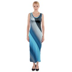 Abstract Pattern Lines Wave Fitted Maxi Dress