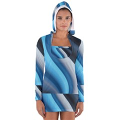 Abstract Pattern Lines Wave Women s Long Sleeve Hooded T Shirt