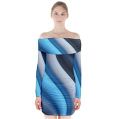 Abstract Pattern Lines Wave Long Sleeve Off Shoulder Dress