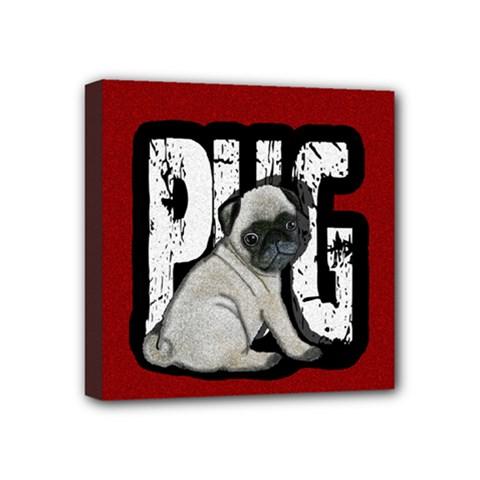 Pug Mini Canvas 4  x 4