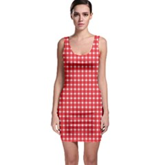 Pattern Diamonds Box Red Sleeveless Bodycon Dress