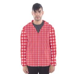 Pattern Diamonds Box Red Hooded Wind Breaker (men)