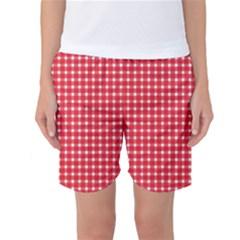 Pattern Diamonds Box Red Women s Basketball Shorts
