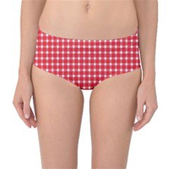 Pattern Diamonds Box Red Mid Waist Bikini Bottoms