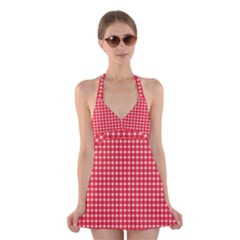 Pattern Diamonds Box Red Halter Swimsuit Dress