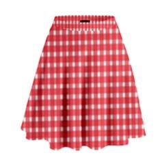Pattern Diamonds Box Red High Waist Skirt