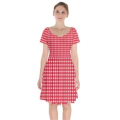 Pattern Diamonds Box Red Short Sleeve Bardot Dress