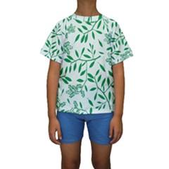 Leaves Foliage Green Wallpaper Kids  Short Sleeve Swimwear