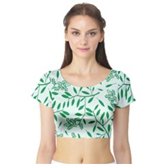 Leaves Foliage Green Wallpaper Short Sleeve Crop Top (Tight Fit)