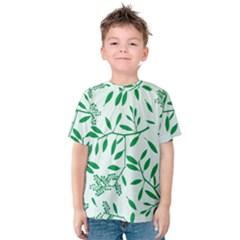 Leaves Foliage Green Wallpaper Kids  Cotton Tee