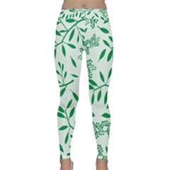 Leaves Foliage Green Wallpaper Classic Yoga Leggings