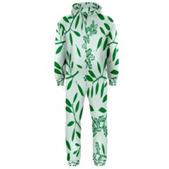Leaves Foliage Green Wallpaper Hooded Jumpsuit (Men)
