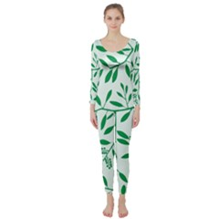 Leaves Foliage Green Wallpaper Long Sleeve Catsuit