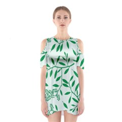 Leaves Foliage Green Wallpaper Shoulder Cutout One Piece