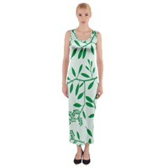 Leaves Foliage Green Wallpaper Fitted Maxi Dress