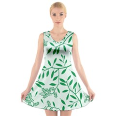 Leaves Foliage Green Wallpaper V Neck Sleeveless Skater Dress