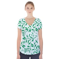 Leaves Foliage Green Wallpaper Short Sleeve Front Detail Top