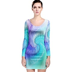 Background Colorful Scrapbook Paper Long Sleeve Bodycon Dress