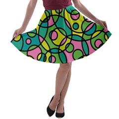Circle Background Background Texture A Line Skater Skirt