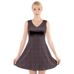 Pattern Background Star V Neck Sleeveless Skater Dress