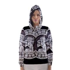 Pattern Motif Decor Hooded Wind Breaker (women)