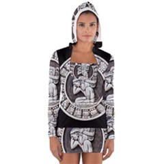 Pattern Motif Decor Women s Long Sleeve Hooded T Shirt