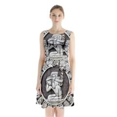 Pattern Motif Decor Sleeveless Waist Tie Chiffon Dress
