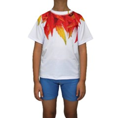 Abstract Autumn Background Bright Kids  Short Sleeve Swimwear