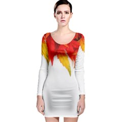 Abstract Autumn Background Bright Long Sleeve Bodycon Dress