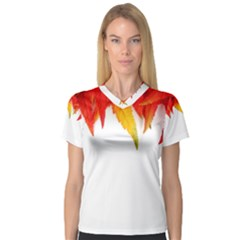 Abstract Autumn Background Bright Women s V-Neck Sport Mesh Tee