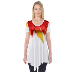 Abstract Autumn Background Bright Short Sleeve Tunic