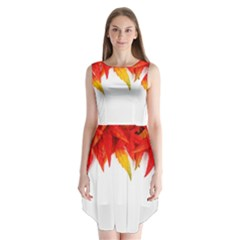 Abstract Autumn Background Bright Sleeveless Chiffon Dress